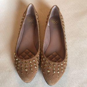 Vince Camuto Tan Leather Studded Flats Sz 9.5